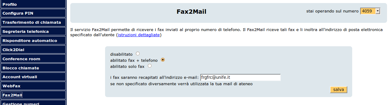 Fax2Mail Via Web è sufficiente impostare la modalità di
