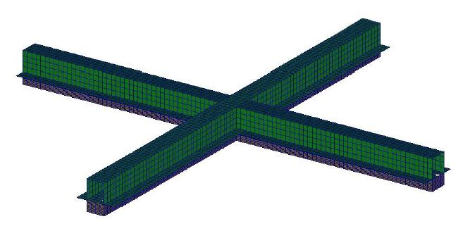 Figure 3: FE model of the floating floor (Modification #6).