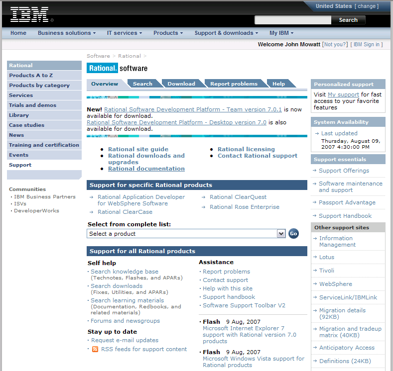 Portal Prior State State IBM Support Portal Different