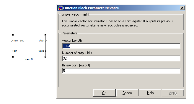 SIMPLE_BRAM_VACC no documentation online The simple_bram_vacc block is used in this design for vector accumulation.
