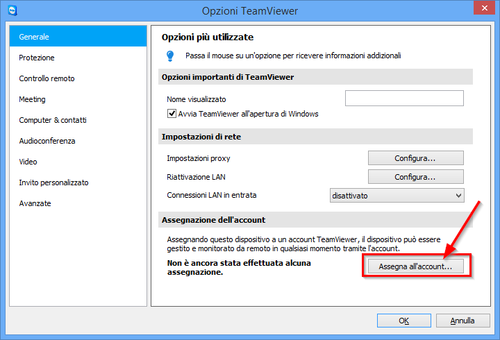 Configurare TeamViewer Assegnare il computer al proprio account TeamViewer 5.