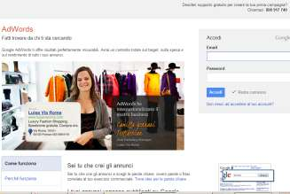 UNA CAMPAGNA SU AWORS Creare un account AdWords e accedere su www.adwords.google.