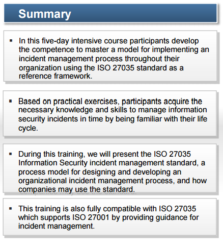 ISO 27035: LEAD INCIDENT MANAGER 2015
