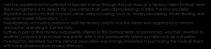 Calcio? 68 The FIU of country B received a disclosure from a bank with regard to suspicious transactions concerning club A.