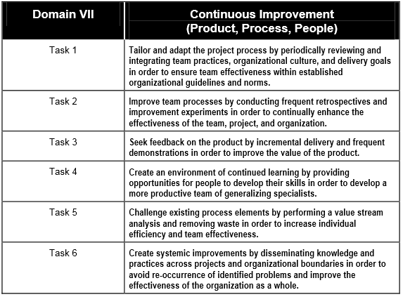 VII Continuous Improvement (Product, Process, People) Continuous