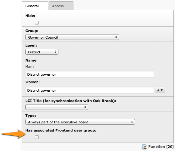 Ticking this checkbox lets you automatically create a Frontend user group for members currently having the corresponding function.
