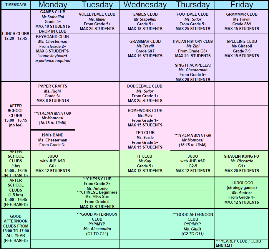 AFTER SCHOOL ACTIVITIES & CLUBS TRIAL WEEK 19-23 JANUARY DETAILED INFORMATION INCLUDING DESCRIPTIONS & PRICES WILL BE