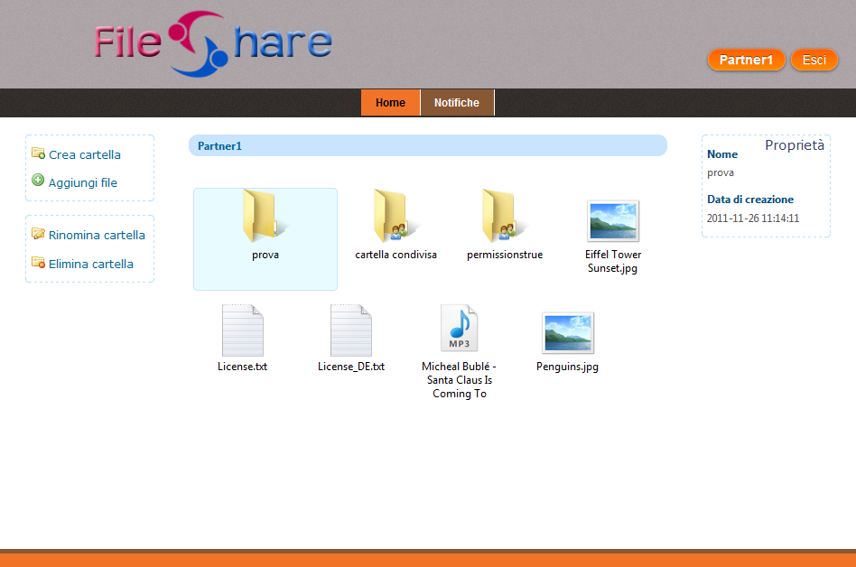 Figura 4.3.1: FileShare: Area personale semplice ed immediato, volto a riproporre quella naturale esperienza di surfing, tipica dei programmi come esplora risorse di Microsoft Windows.