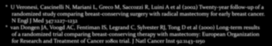 * U Veronesi, Cascinelli N, Mariani L, Greco M, Saccozzi R, Luini A et al (2002) Twenty-year follow-up of a randomized study comparing breast-conserving surgery with radical mastectomy for early