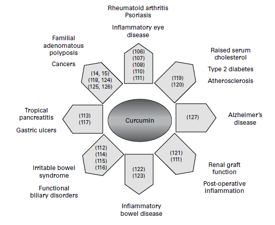 Clinical effects of curcumin: results from human