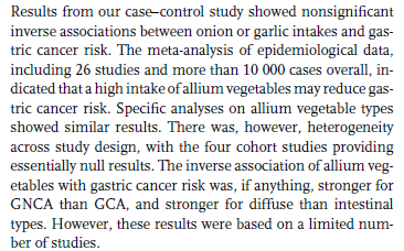 a high consumption of allium vegetables is likely to reduce gastric cancer risk.