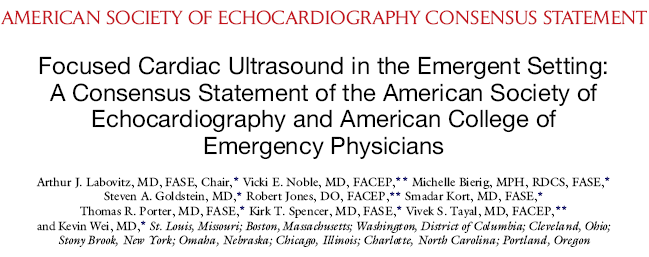 J Am Soc Echocardiogr 2010;23:1225-30. Goals of the focused cardiac US: 1. PEA vs pseudopea; 2.