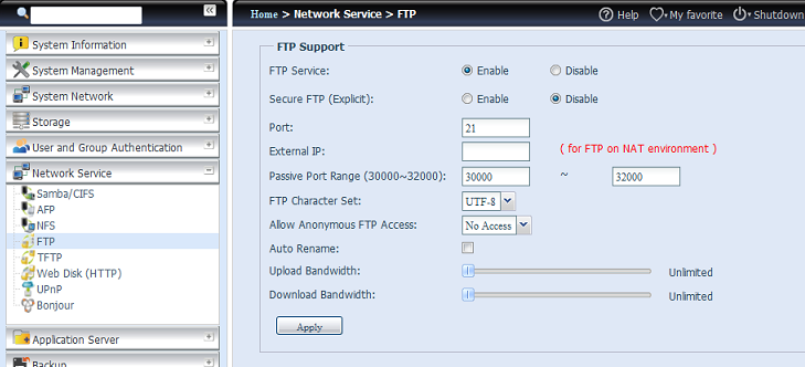 FTP Il dispositivo di archiviazione IP Thecus è in grado di agire come server FTP per consentire all'utente il download e upload di file con i programmi FTP preferiti.