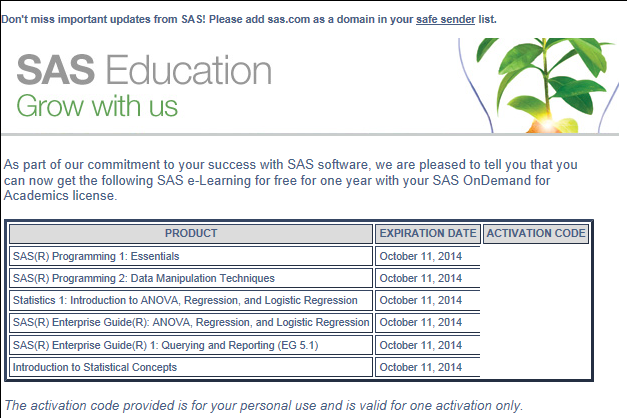 Come attivare SAS e-learnings Mail per attivare gli e-learnings https://support.sas.