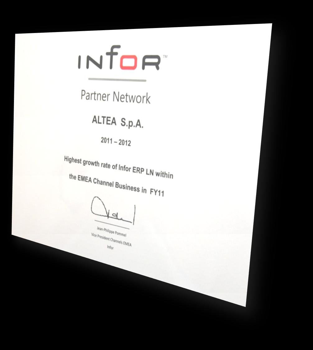 About Altea OLTRE 14 ANNI DI ESPERIENZA SULLE INFOR APPLICATIONS VERTICAL SOLUTIONS 55