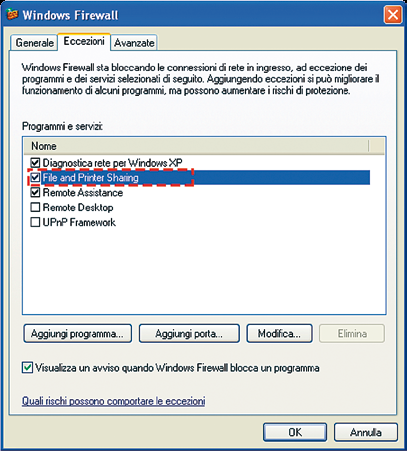 Cliccare prima su Applica e poi su OK. Chiudere lo snap-in Local security settings. 4. Configurare il firewall. Se si usa un firewall dei terzi, aprire le porte 139 e 445.