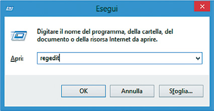 Nella finestra che si apre, digitare Regedit. Si apre l editor del registro di Windows.