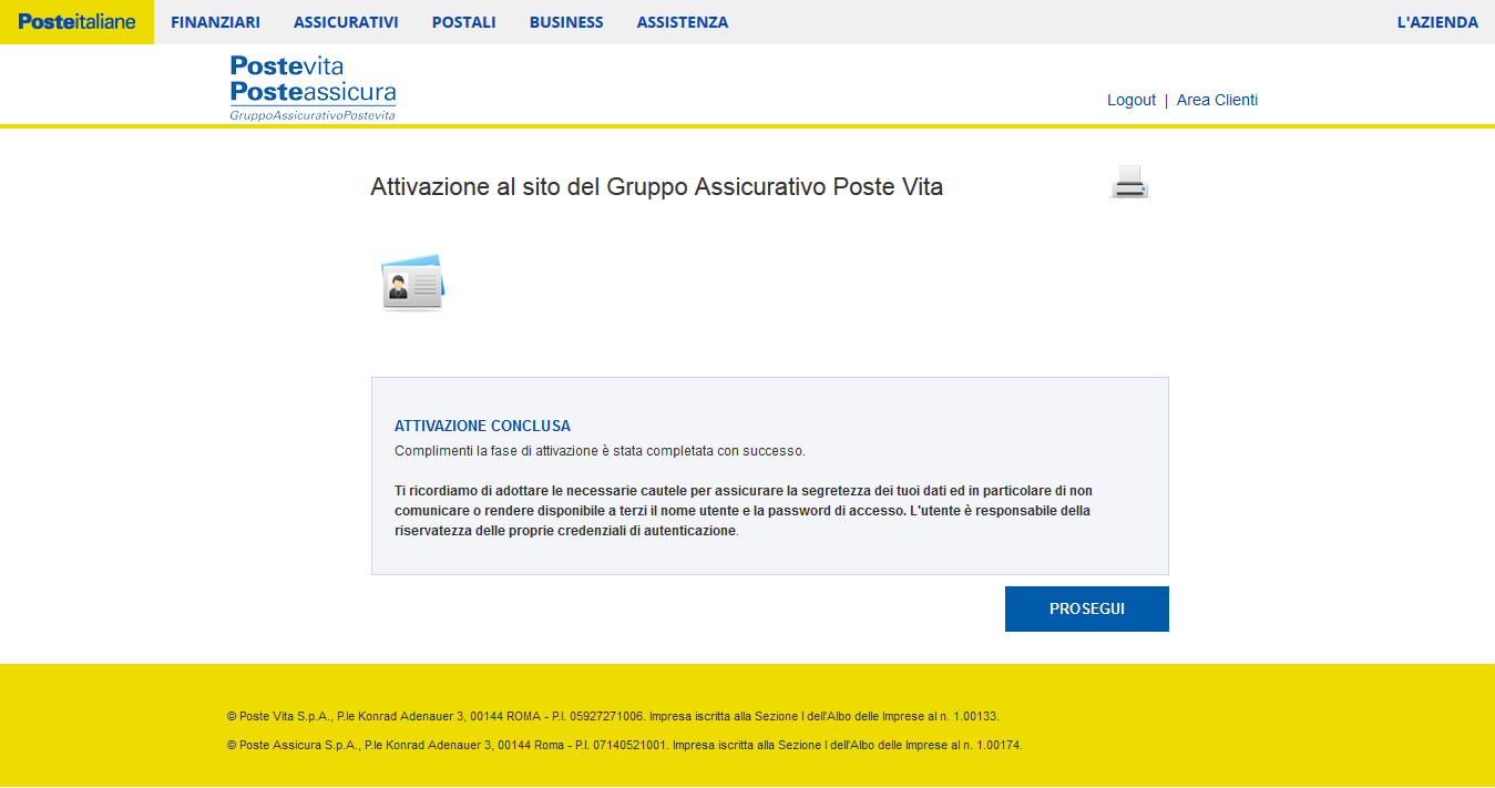 24/32 PROCEDURA UTENTE GIA REGISTRATO SU POSTE.