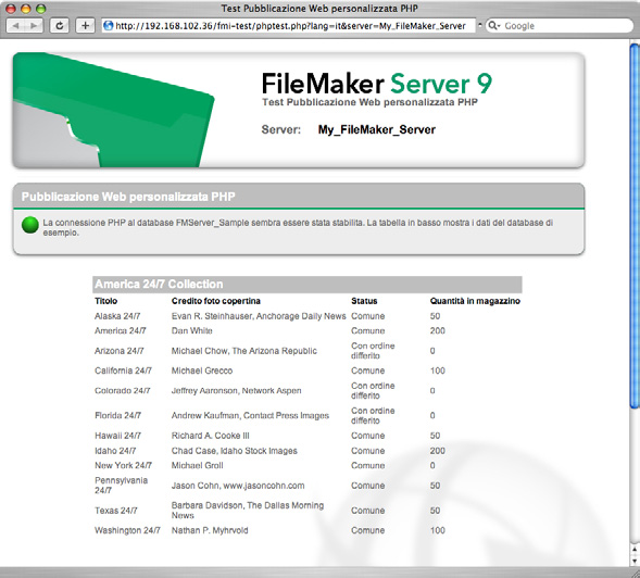 60 Guida introduttiva di FileMaker Server Pagine di test con esito positivo FileMaker Pro