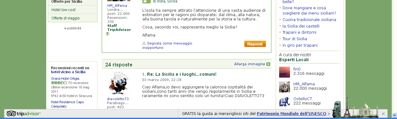 All interno del Forum Sicilia di TripAdvisor