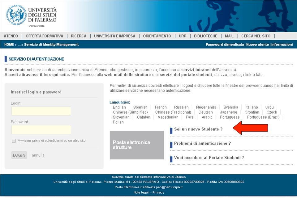 If you are a new student click on Sei un nuovo studente? on the right bottom box, this will lead you to the registration page (step 1).