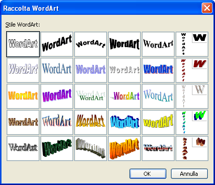 raccolta di WordArt.
