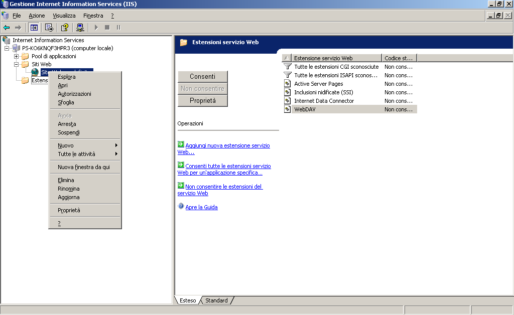 Installazione di strumenti allegati 4 (Per Windows Server 003 (IIS6)) 1 Visualizzare le proprietà del sito Web su cui installare Gateway for Biometric Authentication Manager.