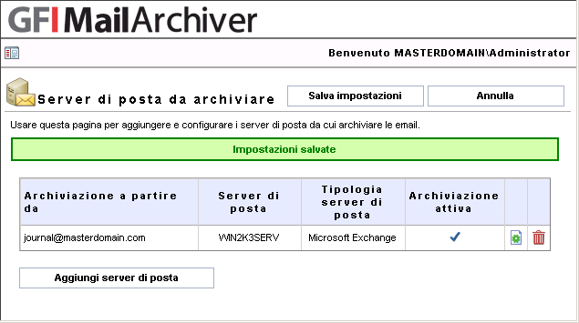 Exchange Web Services: consigliato per server di posta di Microsoft Exchange 2007 SP1 o 2010.