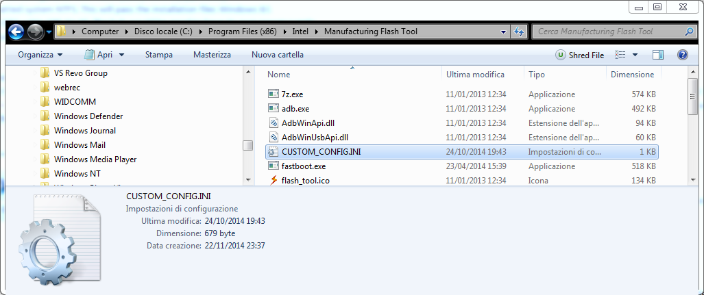 3.4 Dopo l'installazione di Intel Manufacting Tool copia il file CUSTOM_CONFIG.