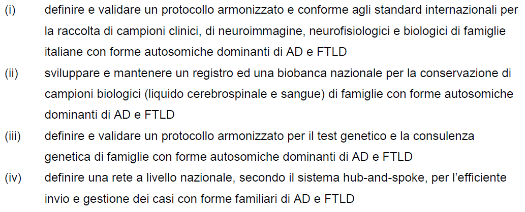 PROGETTO DIAfN Dominantly Inherited Alzheimer and