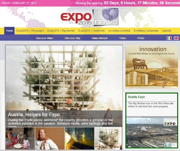 access users (browser) EXPO2015news.org e EXPO2015notizie.it: le audience page views 700.000 800.000 2,2 millions 2.300.