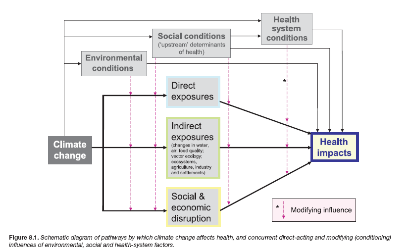 Pathways by which climate change affects health, and concurrent direct-acting and modifying