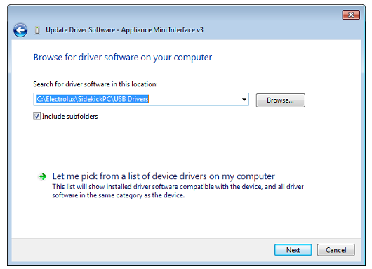 Selezionare: Browse my computer for driver software - Selezionare: Let me pick from a