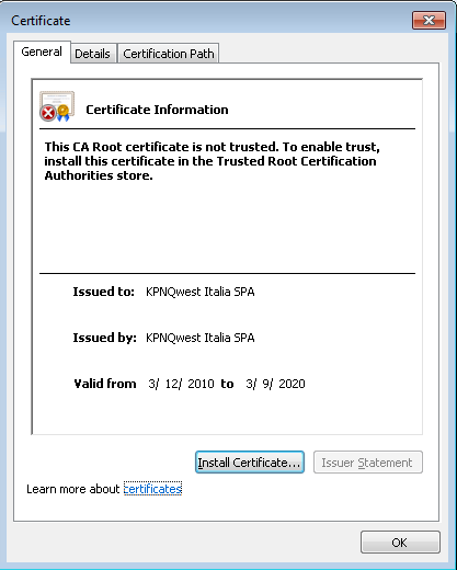 EN FAQ-SSL Why when I try to access a website that uses a SSL certificate signed by KPNQwest Italia SPA I might get an SSL warning?