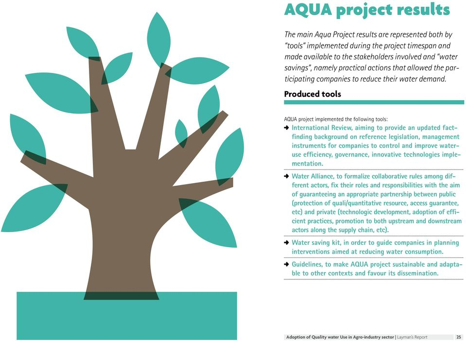 Produced tools AQUA project implemented the following tools: International Review, aiming to provide an updated factfinding background on reference legislation, management instruments for companies