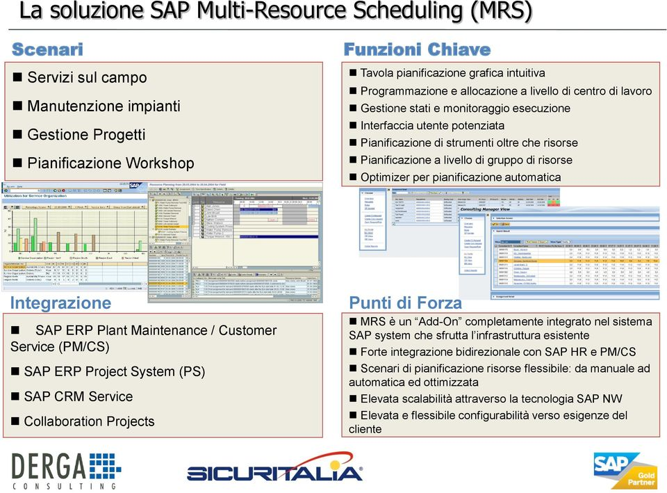 livello di gruppo di risorse Optimizer per pianificazione automatica Integrazione SAP ERP Plant Maintenance / Customer Service (PM/CS) SAP ERP Project System (PS) SAP CRM Service Collaboration