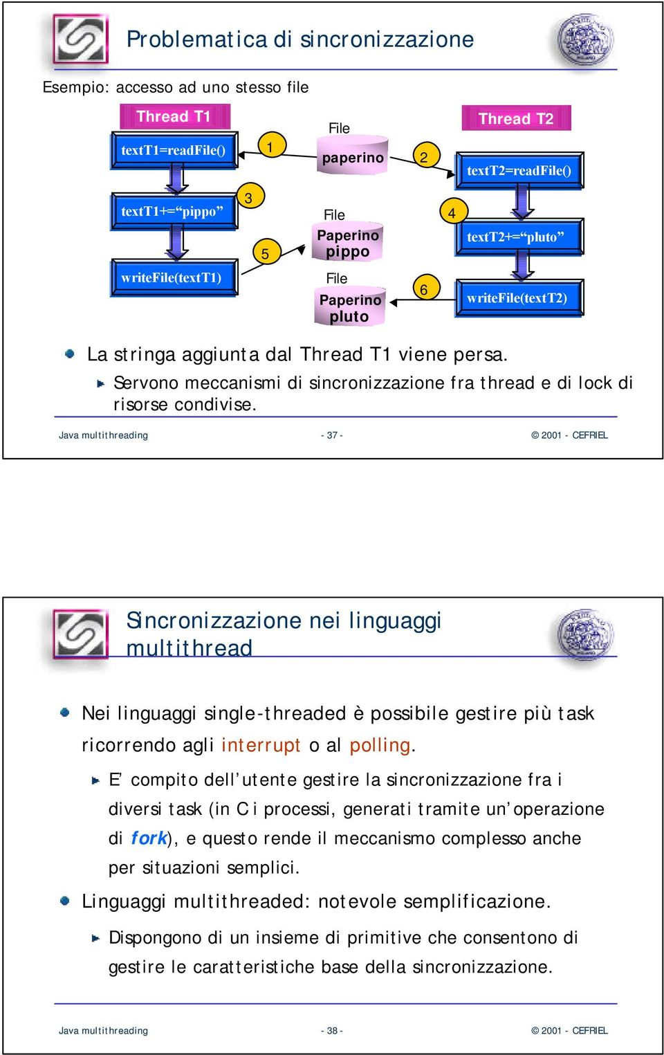 Java multithreading - 37 - Sincronizzazione nei linguaggi multithread Nei linguaggi single-threaded è possibile gestire più task ricorrendo agli interrupt o al polling.