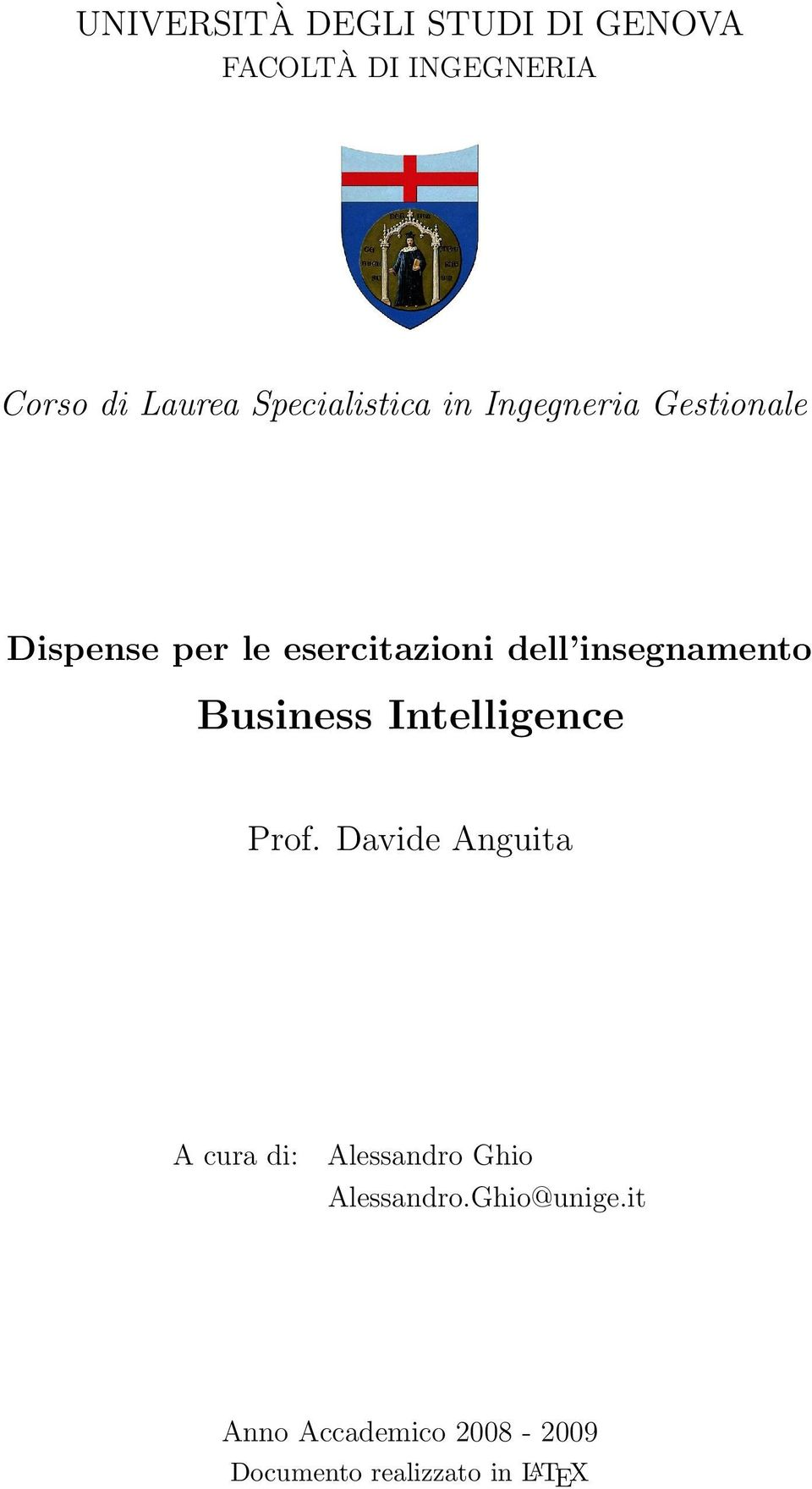 insegnamento Business Intelligence Prof.