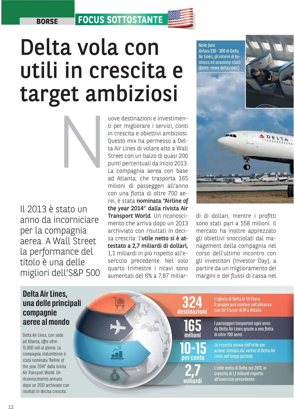 000 voli al giorno. La compagnia statunitense è stata nominata Airline of the year 2014 dalla rivista Air Transport World.