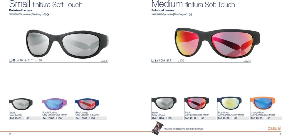 15187 58 Ref. 15188 58 Black Grey Lenses Ref.