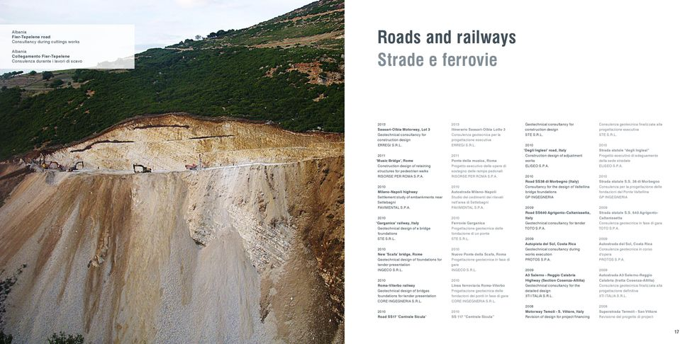 P.A. Garganica railway, Italy Geotechnical of a bridge foundations STE S.R.L. New Scafa bridge, Geotechnical of foundations for tender presentation INGECO S.R.L. -Viterbo railway Geotechnical of bridges foundations for tender presentation CORE INGEGNERIA S.