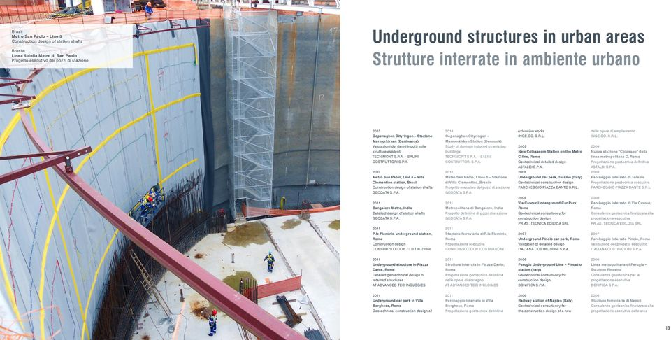SALINI COSTRUTTORI S.P.A. Metro San Paolo, Line 5 Villa Clementino station, Brasil Construction of station shafts GEODATA S.P.A. Bangalore Metro, India Detailed of station shafts GEODATA S.P.A. P.le Flaminio underground station, Construction CONSORZIO COOP.