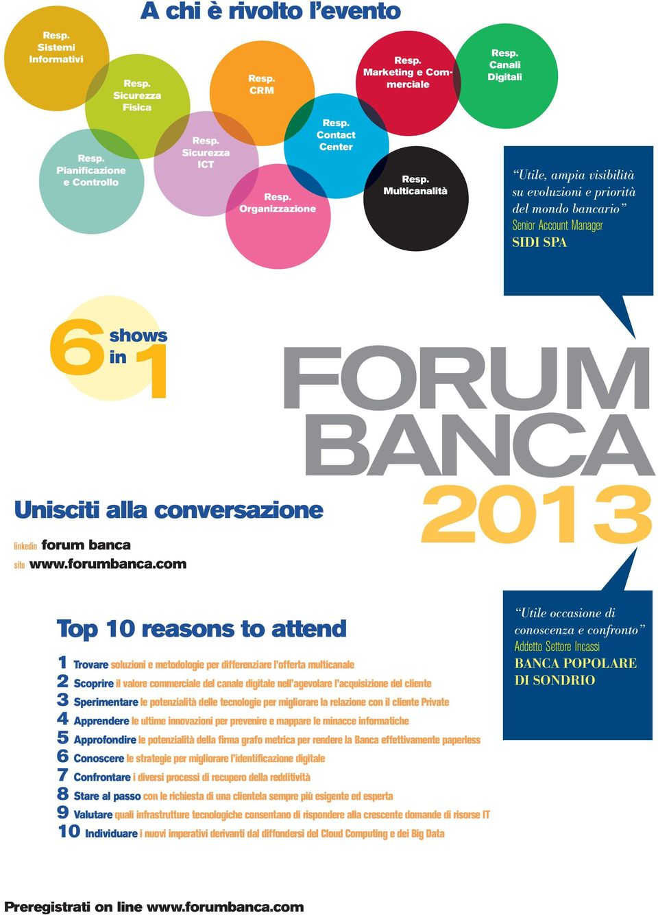 com BANCA 2013 Top 10 reasons to attend 1 Trovare soluzioni e metodologie per differenziare l offerta multicanale 2 Scoprire il valore commerciale del canale digitale nell agevolare l acquisizione