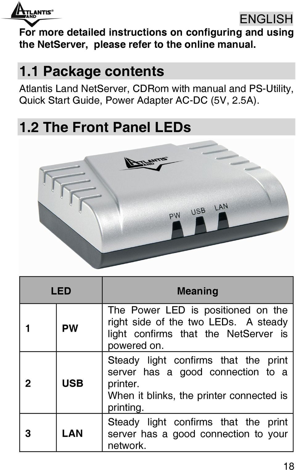 2 The Front Panel LEDs LED 1 PW 2 USB 3 LAN Meaning The Power LED is positioned on the right side of the two LEDs.
