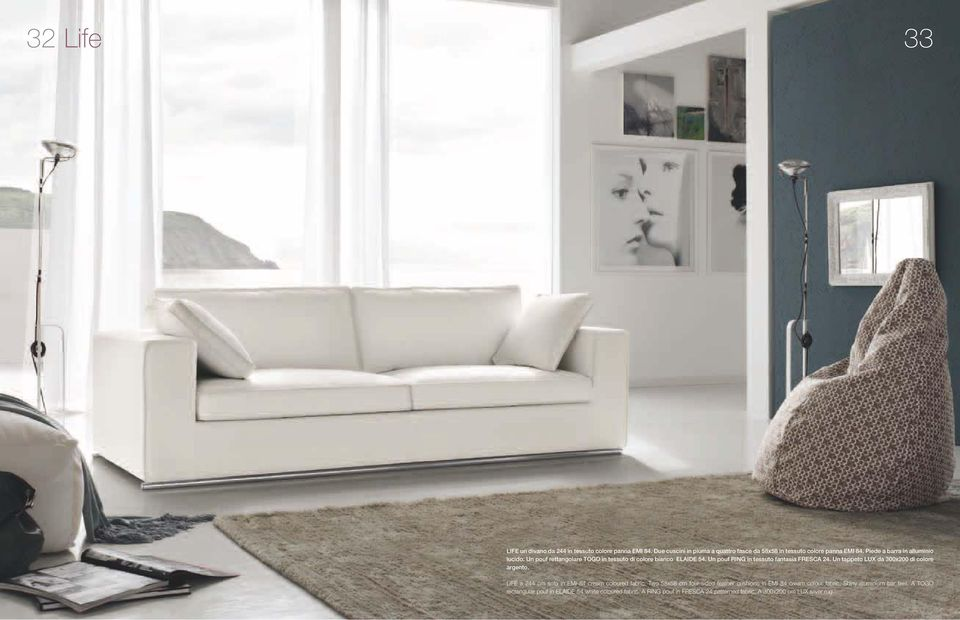Un tappeto LUX da 300x200 di colore argento. LIFE a 244 cm sofa in EMI 84 cream coloured fabric.