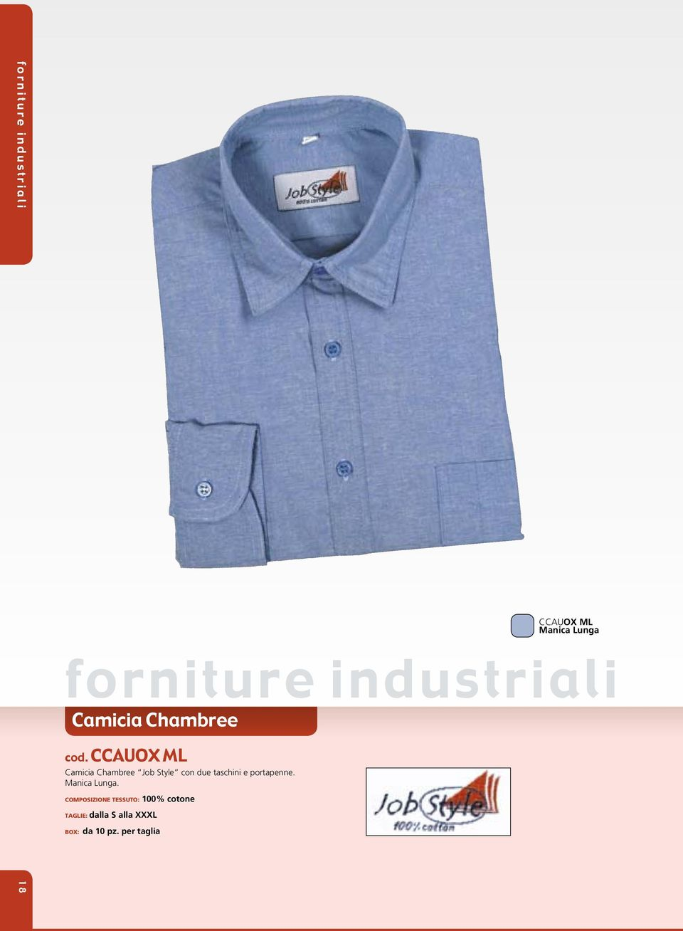 CCauOx Ml Camicia Chambree Job Style con due taschini e