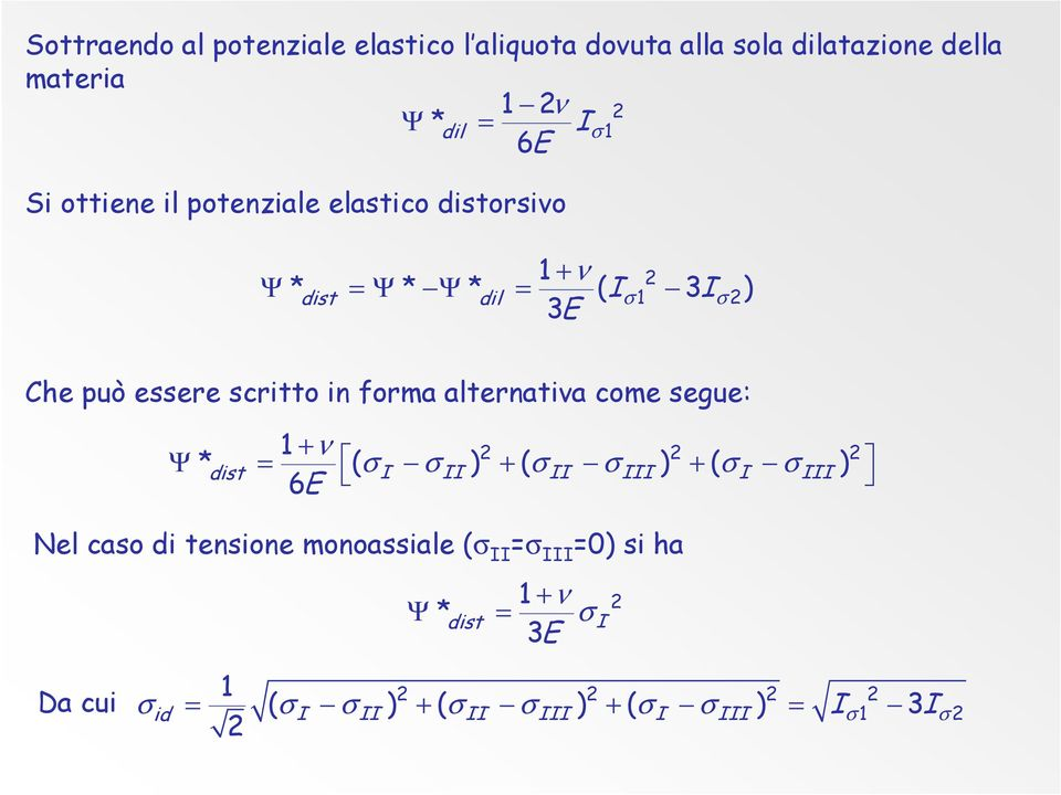 forma alternativa come segue: 1 + ν 2 2 2 Ψ * dist = ( σi σii ) ( σii σiii ) ( σi σiii ) 6E + + Nel caso di tensione