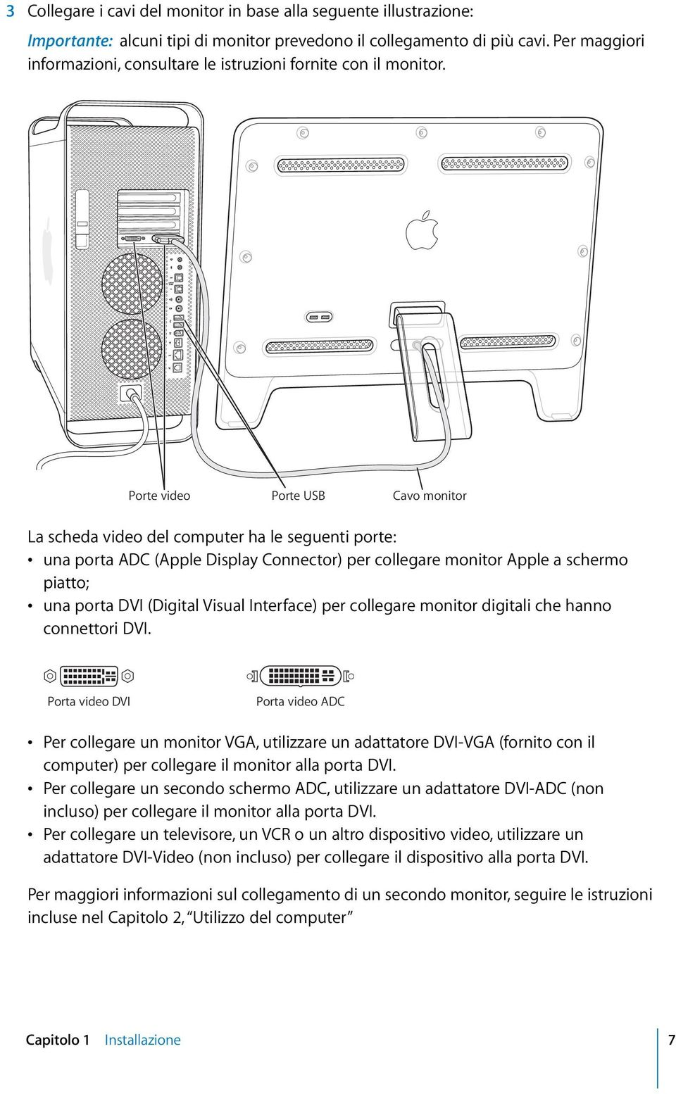 Porte video Porte USB Cavo monitor La scheda video del computer ha le seguenti porte: una porta ADC (Apple Display Connector) per collegare monitor Apple a schermo piatto; una porta DVI (Digital