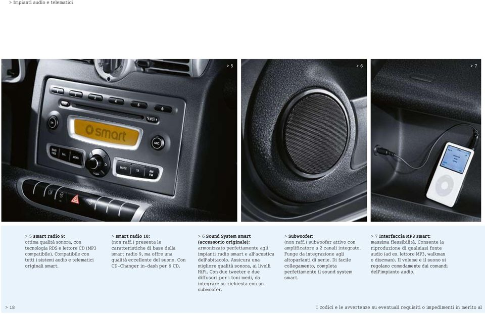 Con CD-Changer in-dash per 6 CD. > 6 Sound System smart (accessorio originale): armonizzato perfettamente agli impianti radio smart e all acustica dell abitacolo.