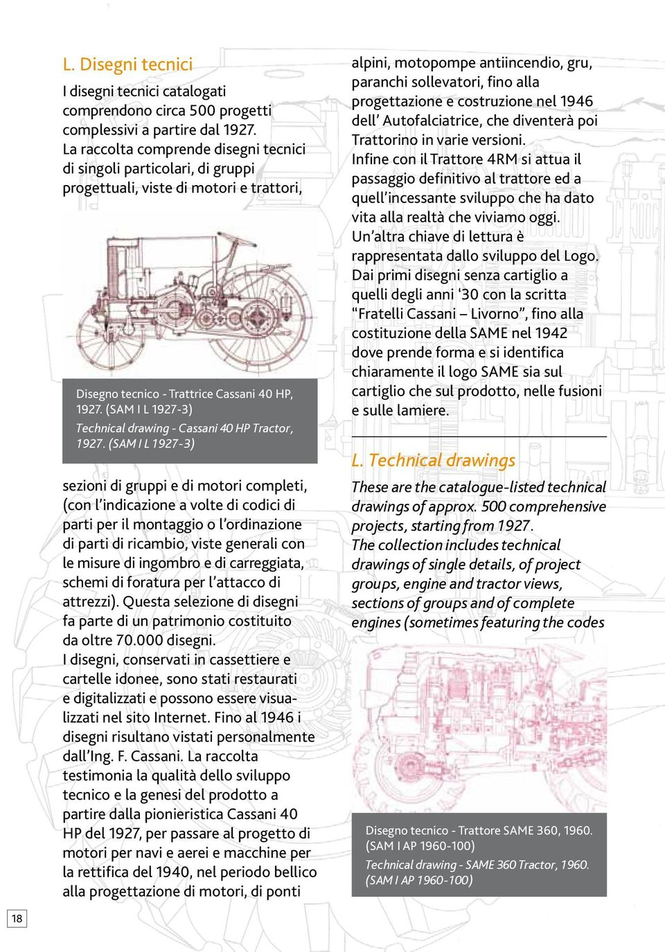 (SAM I L 1927-3) Technical drawing - Cassani 40 HP Tractor, 1927.